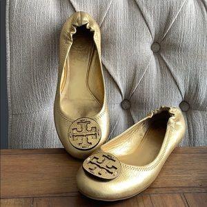 Tory Burch Gold Reva Ballet Flat Size 7.5